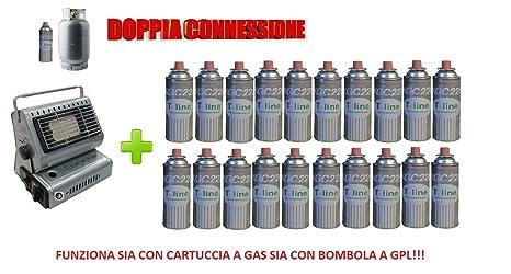 Estufa estufa a gas portátil doble conexión Sia Cartuchos de Gas Sia bombole + 20 cartucho