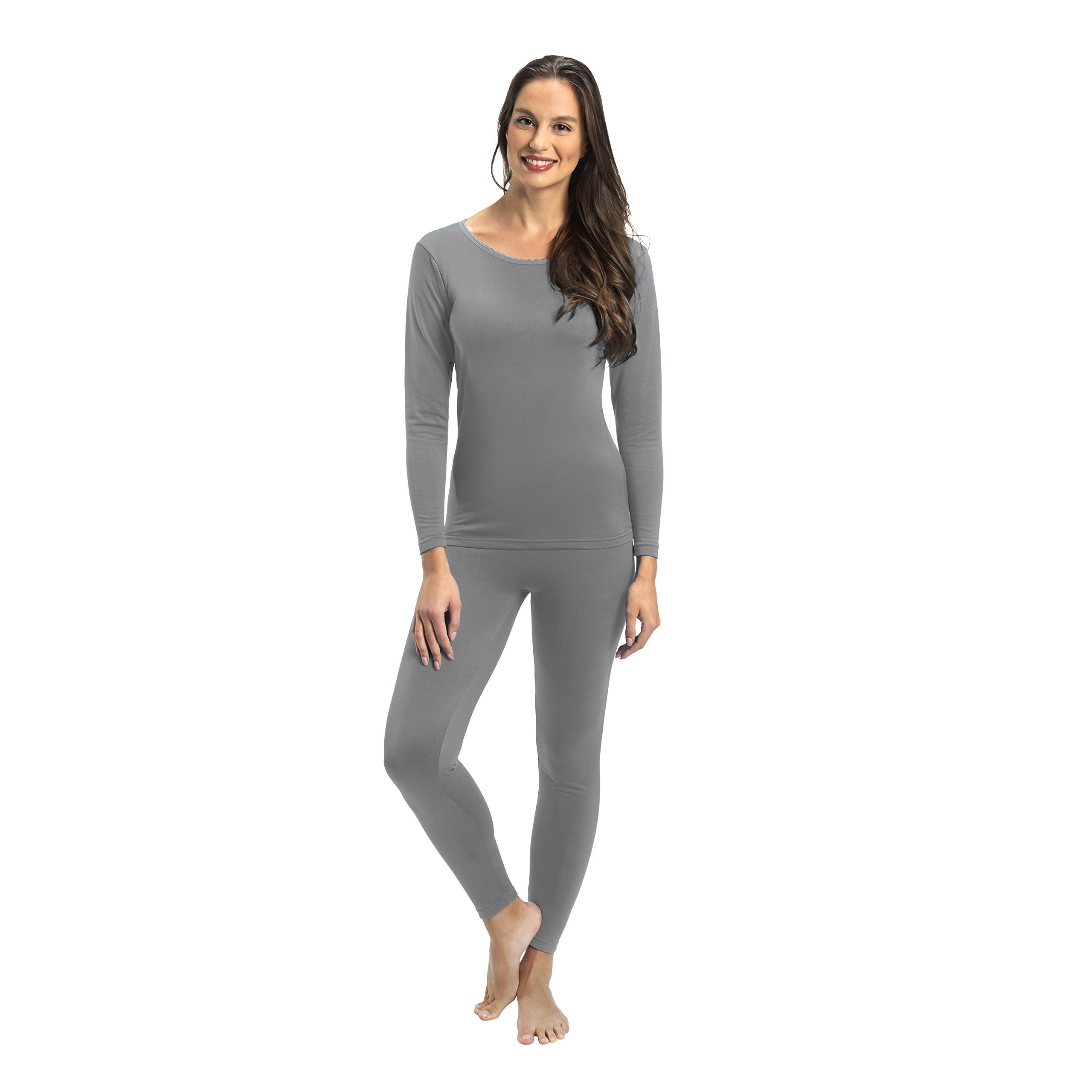Rocky Womens Thermal 2 Pc Long John Underwear Set Top and Bottom Smooth Knit (Small, Grey) by Rocky