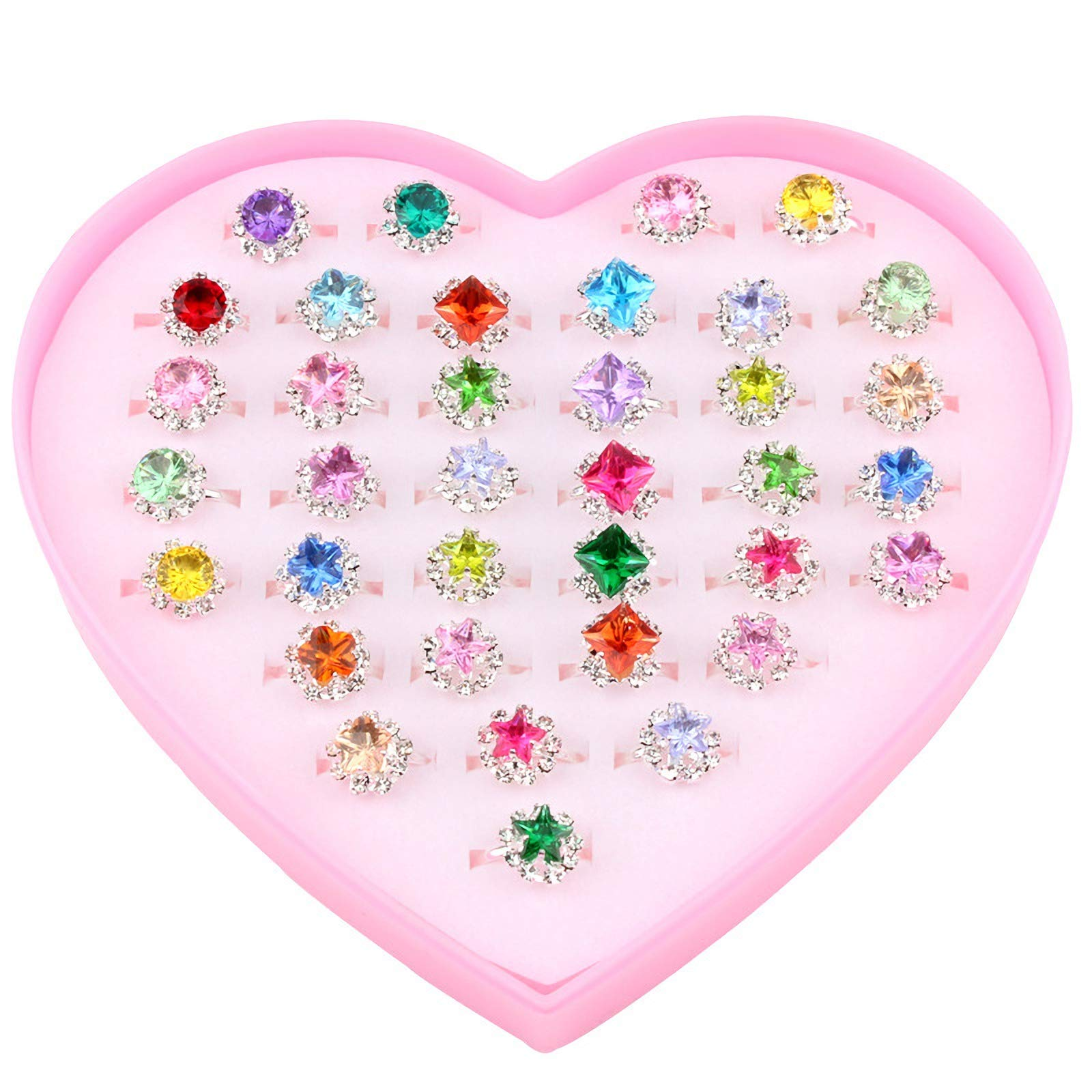 Fineder 36pcs Colorful Rhinestone Gem Rings in Box, Adjustable Little Girl Jewel Rings in Box Children Kids Little Girl Gift, Girl Pretend Play and Dress up Rings by Fineder
