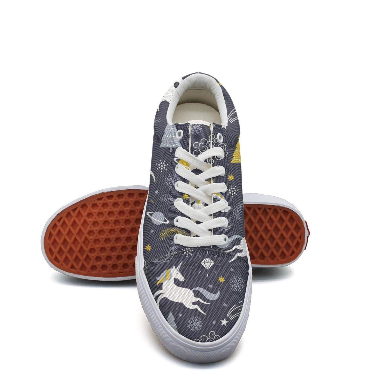 Pheomg Womens Christmas Unicorn Fashion Casual Slip-on Canvas Shoes Retro Casual Shoes