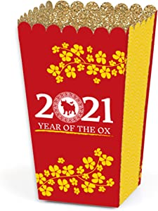 Big Dot of Happiness Chinese New Year - 2021 Year of the Ox Favor Popcorn Treat Boxes - Set of 12