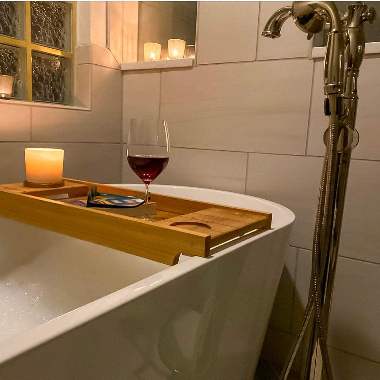 Natural Bathtub Caddy Tray Rustic Wooden Bath Caddy for Wine Holder Shampoo Razors Towel by STYLE Rustic Wood