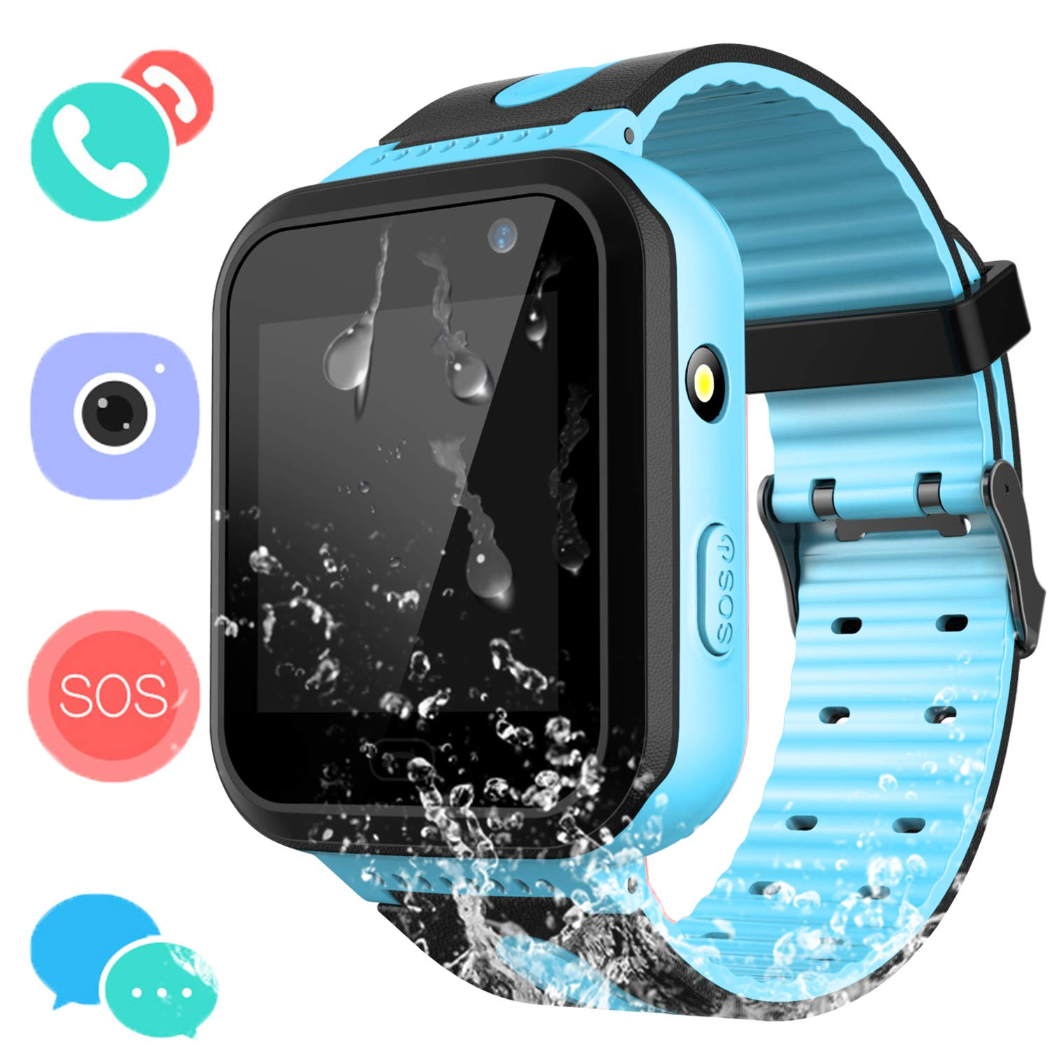 Kids Waterproof Smartwatch with GPS Tracker – Boys & Girls IP67 Waterproof Smart Watch Phone with Camera Games Sports Watches Back to School Supplies Grade Student Gifts