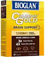 Bioglan Calamari Gold 1000mg, higher concentration of Omega-3 DHA (Docosahexaenoic Acid) in each capsule than standard 1000mg Fish & Krill Oil capsules combined. One month supply – 30 capsules
