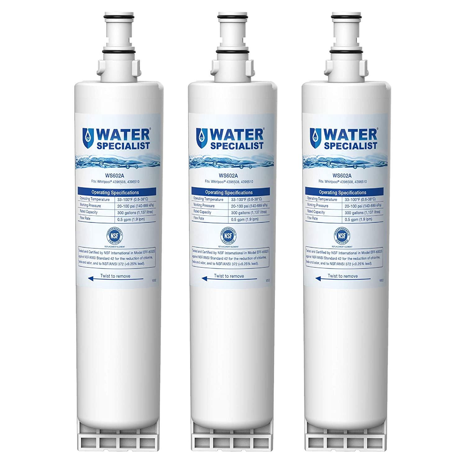 Waterspecialist 4396508 Refrigerator Water Filter, Replacement for Whirlpool EDR5RXD1, EveryDrop Filter 5, PUR W10186668, NLC240V, 4396510, 4396508P, 4392857, WF-4396508, Kenmore 46-9010 (Pack of 3)