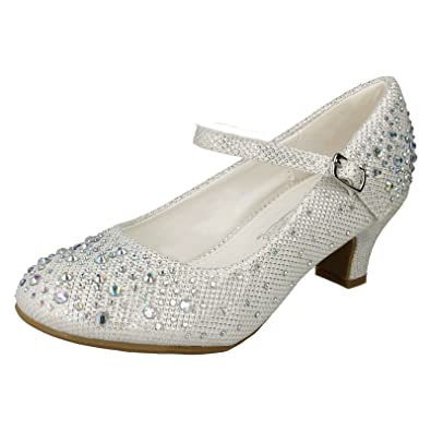 a0e11883a4b4 Spot On Girls Junior Sparkly Kitten Heel Party Shoes - White Synthetic  Glitter - UK Size 2 - EU Size 34 - US Size 3: Amazon.co.uk: Shoes & Bags