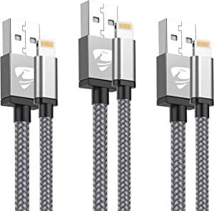 iPhone Charger Cable 3pack[3ft/6ft/10ft] [MFi Certified] Nylon Braided Lightning Cable, Phone Charging Cord Compatible with iPhone 12 Pro Max 11 Pro Xs XR X 8 7 6S 6 Plus SE 5S,iPad