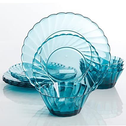 Gibson Home Estelle 12 Piece Acrylic Dinnerware Set Teal  sc 1 st  Amazon.com & Amazon.com | Gibson Home Estelle 12 Piece Acrylic Dinnerware Set ...