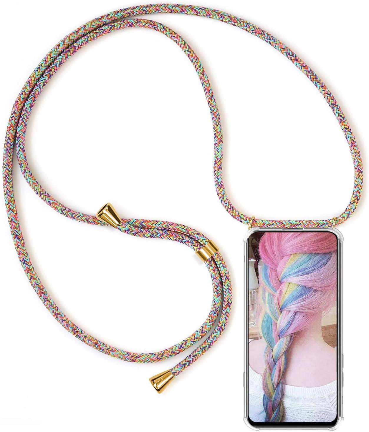 Funda para Cuerda Samsung Galaxy Note 10 Plus Carcasa Transparente de Correa Colgante Collar Ultrafino Ultraligero Moda Practico Silicona TPU Gel Case Anti-Choque Anti-rasgu/ños Albaricoque Azul