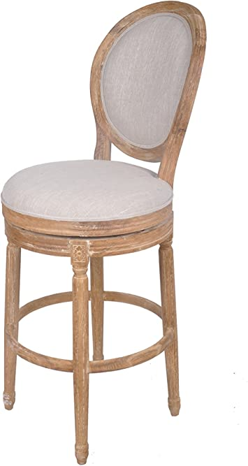 Amazon Com Best Quality Furniture Barstool Best Quality Solid Oak Upholstered In Linen Swivel Bar Stool Furniture Decor