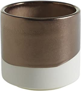 White and Gold Round Ceramic Planter - 4 x 3.75 Inches - Qdoba Matte Cream and Glossy Metallic Pot w/ Brass Interior - Modern Global Vase Decor for Home or Office