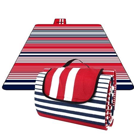HOMFA 200 x 200 cm Picknickdecke XXL Stranddecke aus Fleece Wasserdicht groß Faltbar Leicht mit Tragegriff Matte Decke für Ca