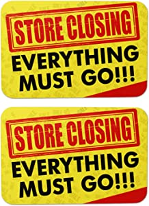 Store Closing Sign | Everything Must Go Bis Sale Sign for Stores, Shops Going Out of Business Sign Big Sale Sign| 8 in x 12 in (2 Pack)