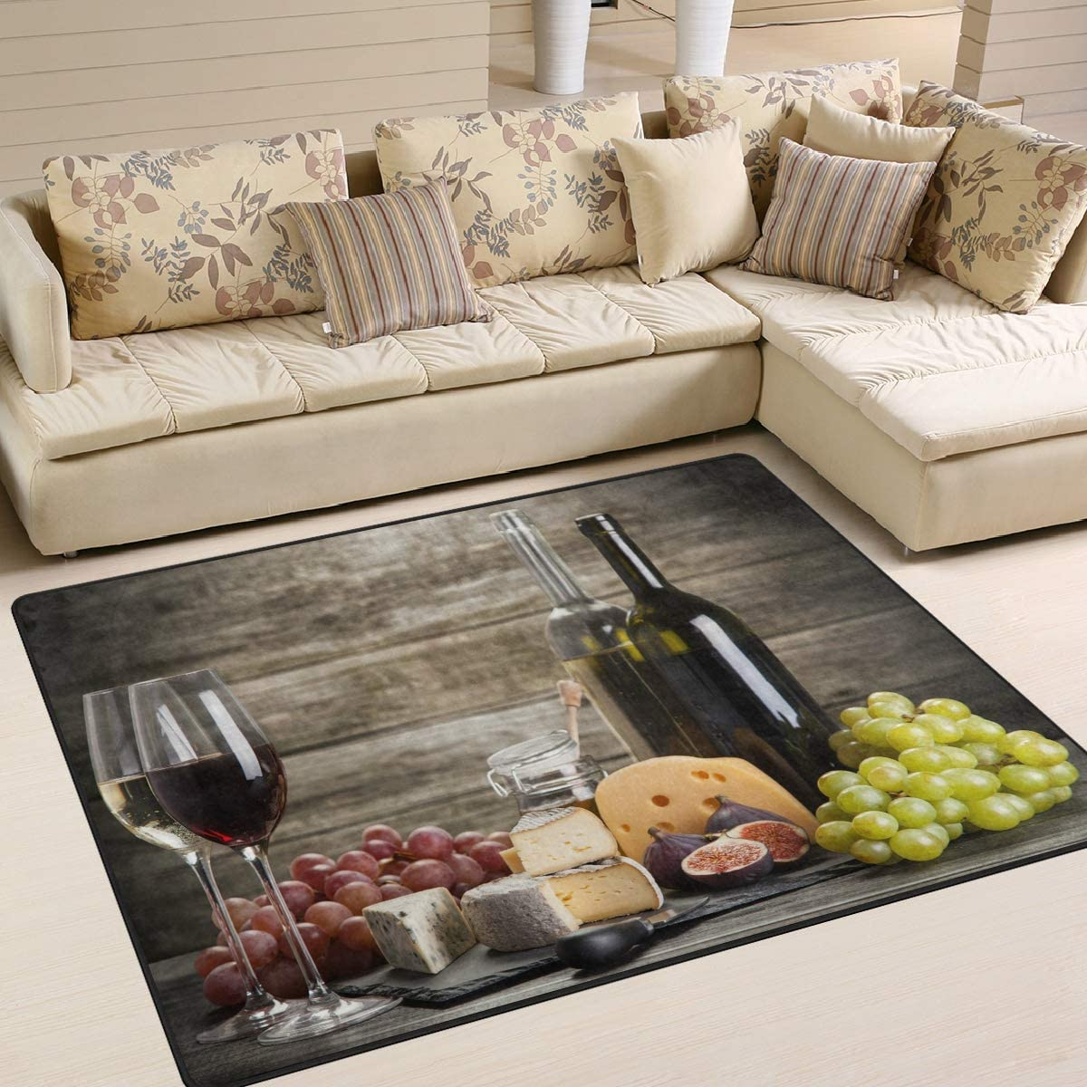 ALAZA Red Wine Cheese Fruit on Wooden Area Rug Rugs for Living Room Bedroom 7 x 5