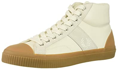5eb2fd7001d8 Fred Perry Men s Hughes MID Leather Sneaker Light Ecru 7 D UK (8 ...