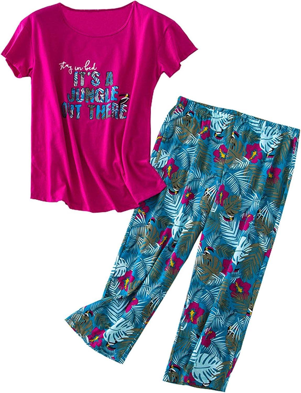 GTLY Women's Plus Size Pajama Sets Capri Pants with Short Tops Cotton Sleepwear Ladies Cute Cartoon Print Sleep Sets