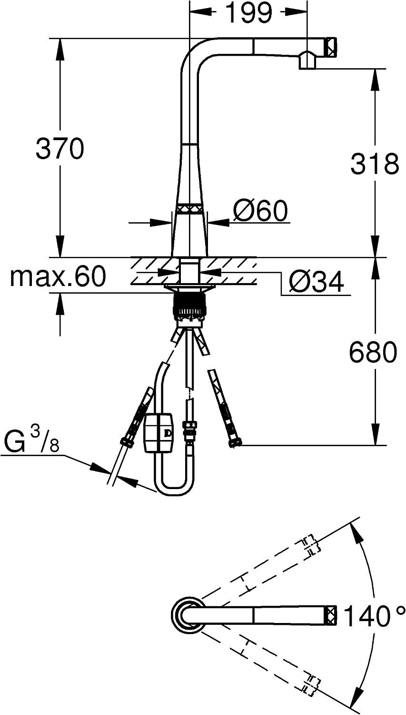 Cromo Grohe 31593002 31593002-Zedra Monomando de Fregadero con SmartControl Integrado