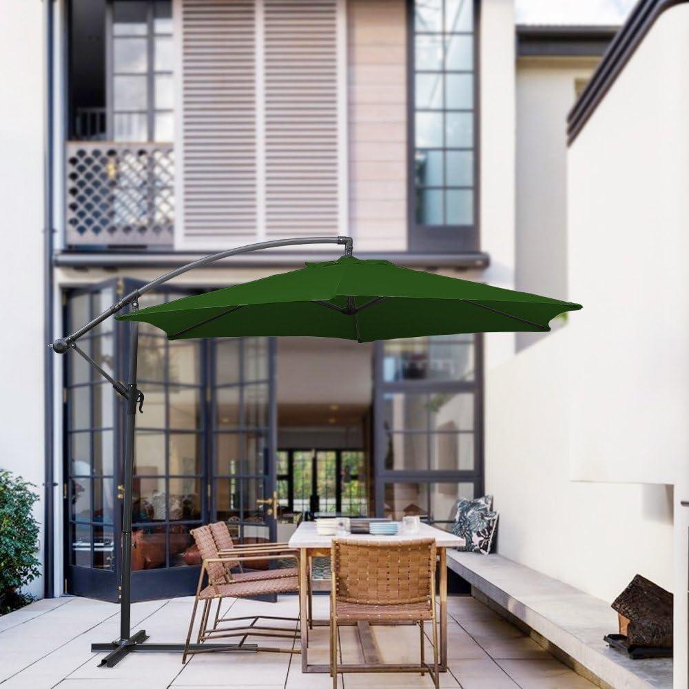 Hengda Sombrilla Parasol Excéntrico 3.5M Jardin Cantilever Sombrilla Mástil de Aluminio con Manivela con Diámetro 48 mm, Protección UV 40+, 100% Poliester Tela, con Base de Cruz, Verde: Amazon.es: Jardín