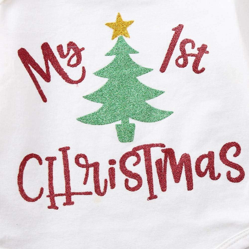 3PC Christmas Baby Girls Letter Print Romper+Shorts+Headband Set Clothes