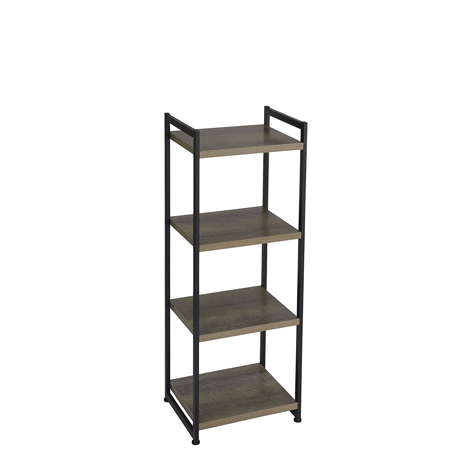 Household Essentials 4 Tier Storage Tower Shelf with Metal, Grey Shelves – Black Frame, Ashwood