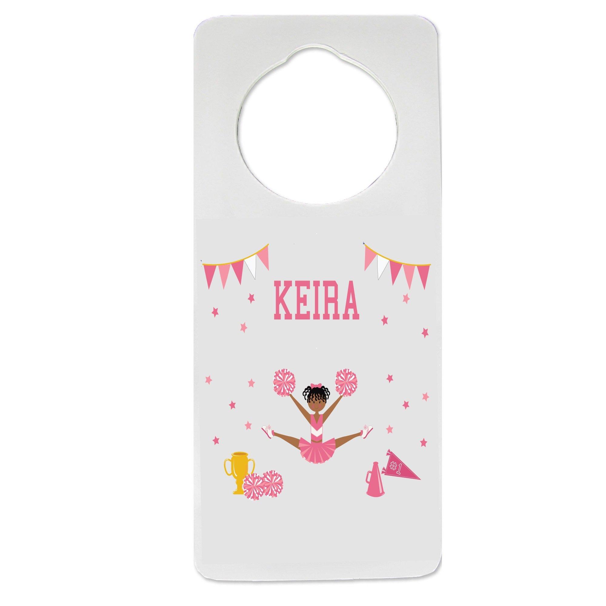 Personalized Cheerleader African American Pink Nursery Door Hanger
