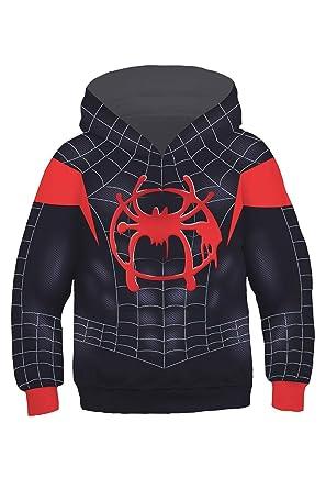 f1610e15 Kids Spider-Verse Miles Morales Hoodie Pullover Sweatshirt 4-13 Years