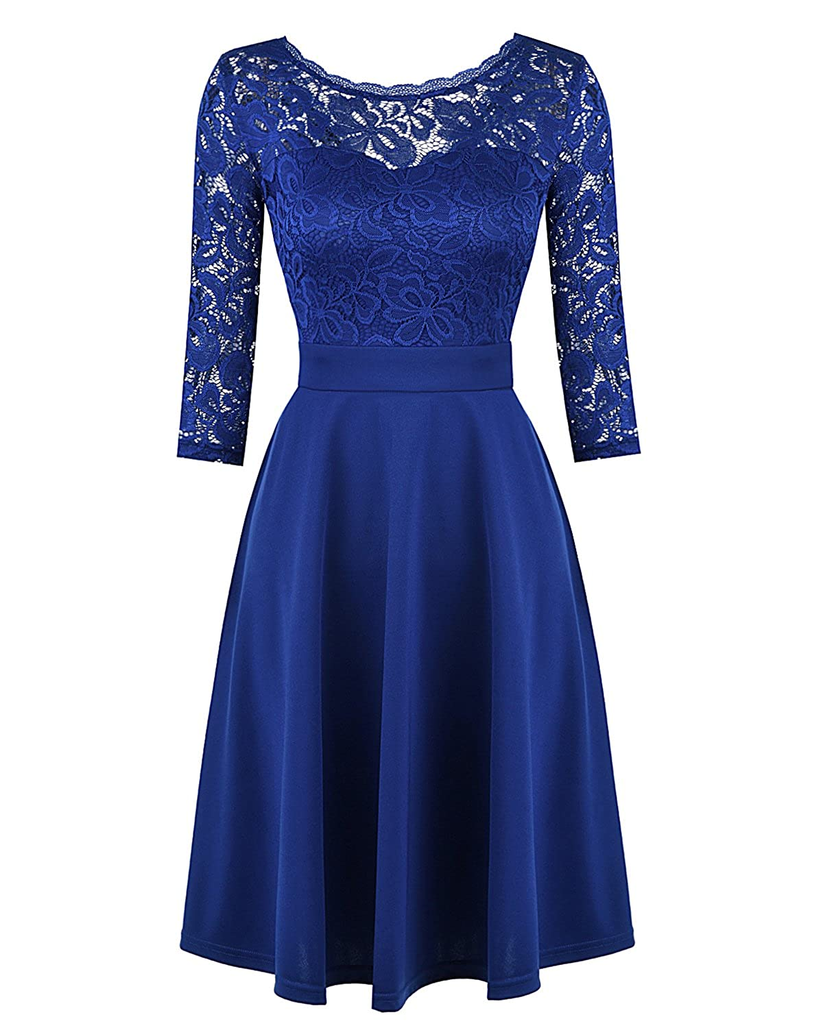 42bfd52c24f6 Top1: Mixfeer Women's Vintage Floral Lace Cocktail Party Swing Dress 3/4  Sleeves