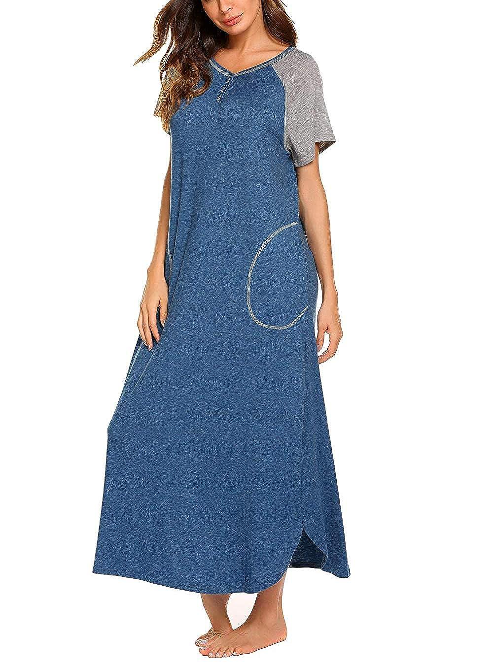 Sleepwear Women/'s Nightshirt Short Sleeve Nightgown with Pocket Sleep Dress Full Length