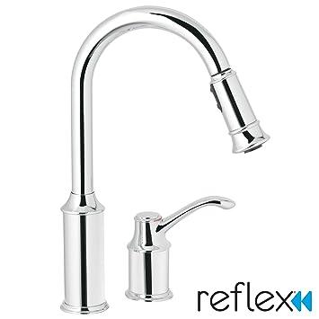 moen 7590c aberdeen one handle high arc pulldown kitchen faucet rh amazon com