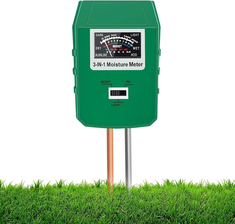 Xddias Medidor de Humedad del Suelo, Kit de Prueba de Suelo 3 en 1 con Prueba de Humedad/pH/Luz