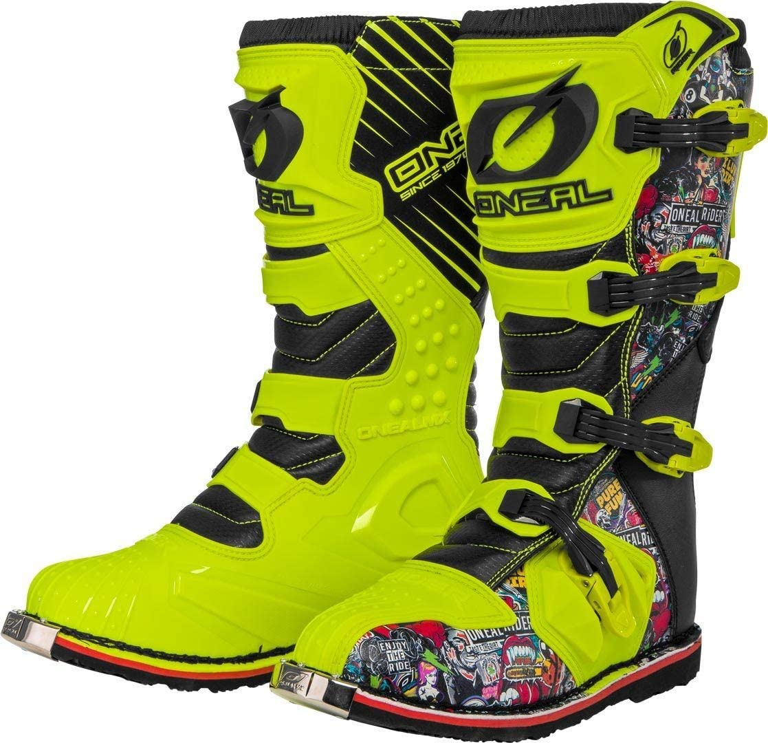 0329-0 ONeal Rider Boot Crank MX Cross Stiefel Neon Gelb Pin It Motorrad Enduro Motocross Offroad