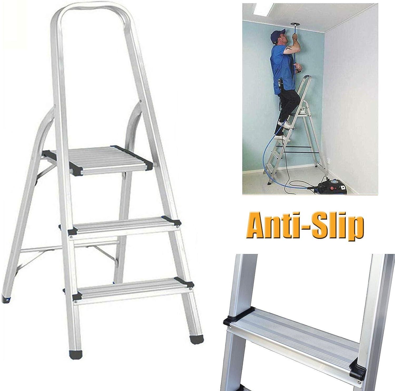 Escalera plegable de aluminio de 3 peldaños, ligera, compacta ...