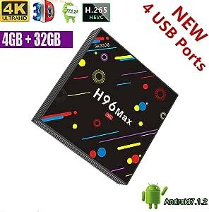 Entrega de almacén local en España] TV Box, H96 Max 4GB + 32GB Smart 4K TV Box Android 7.1 RK3328 Quad Core Compatible con 4K (60Hz) Full HD / H.265 / Dual