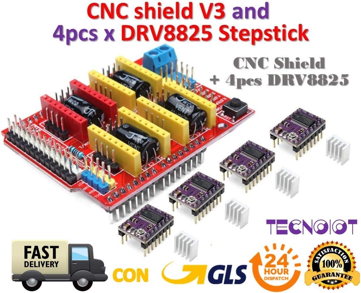 TECNOIOT CNC Shield V3 Expansion Board + 4pcs DRV8825 Stepper ...