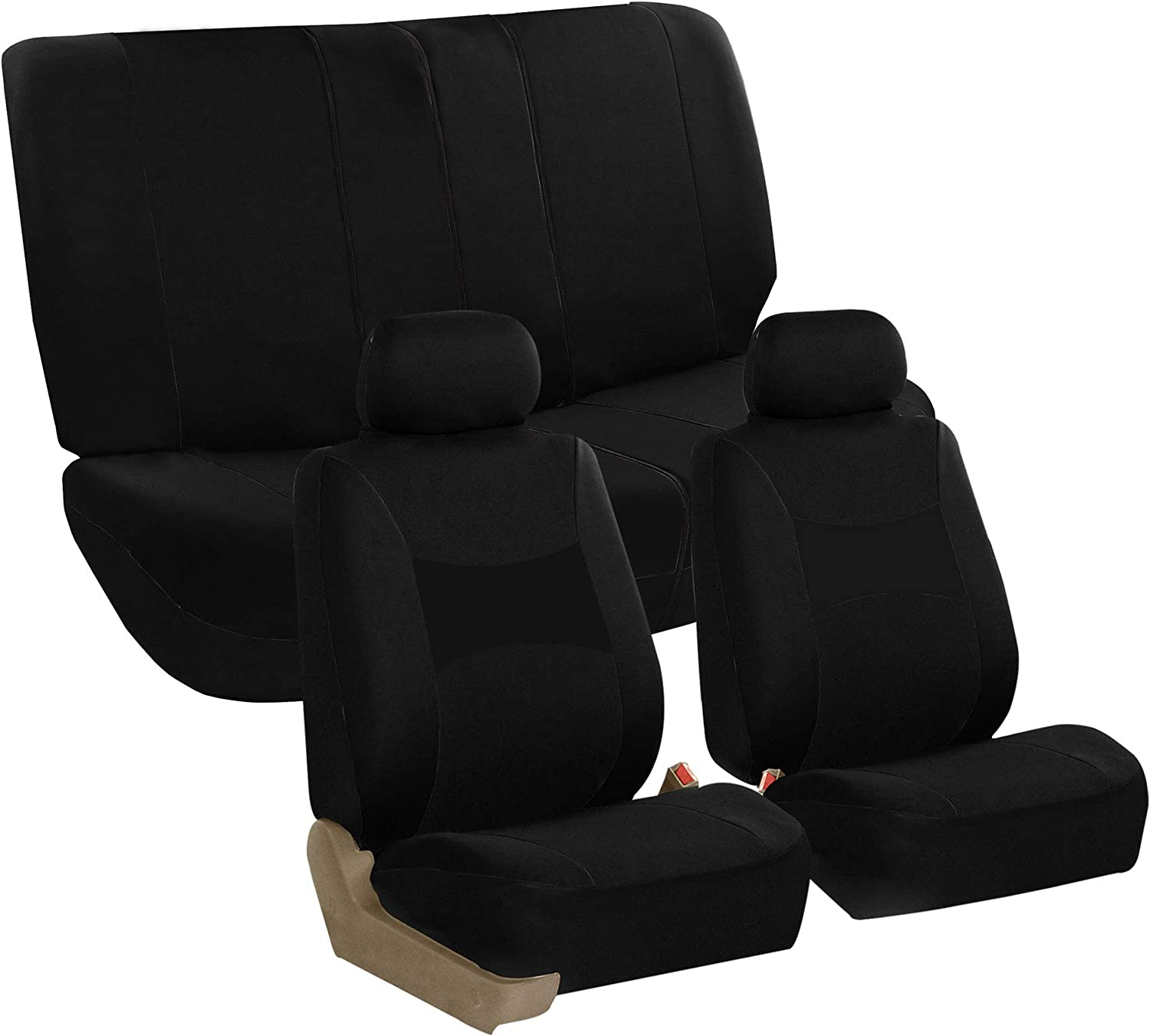 FH Group FB030112 Light & Breezy Cloth Full Set Car Seat Covers (Airbag & Split Ready) Solid Black - Fit Most Car, Truck, SUV, or Van