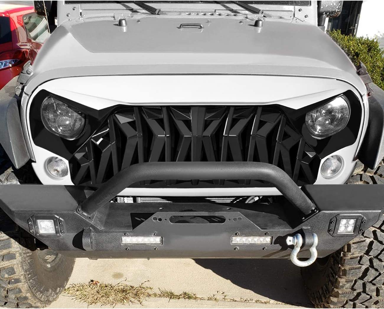 Grilles ABS ICARS White & Black Shark Grill Front Cover for 2007 ...