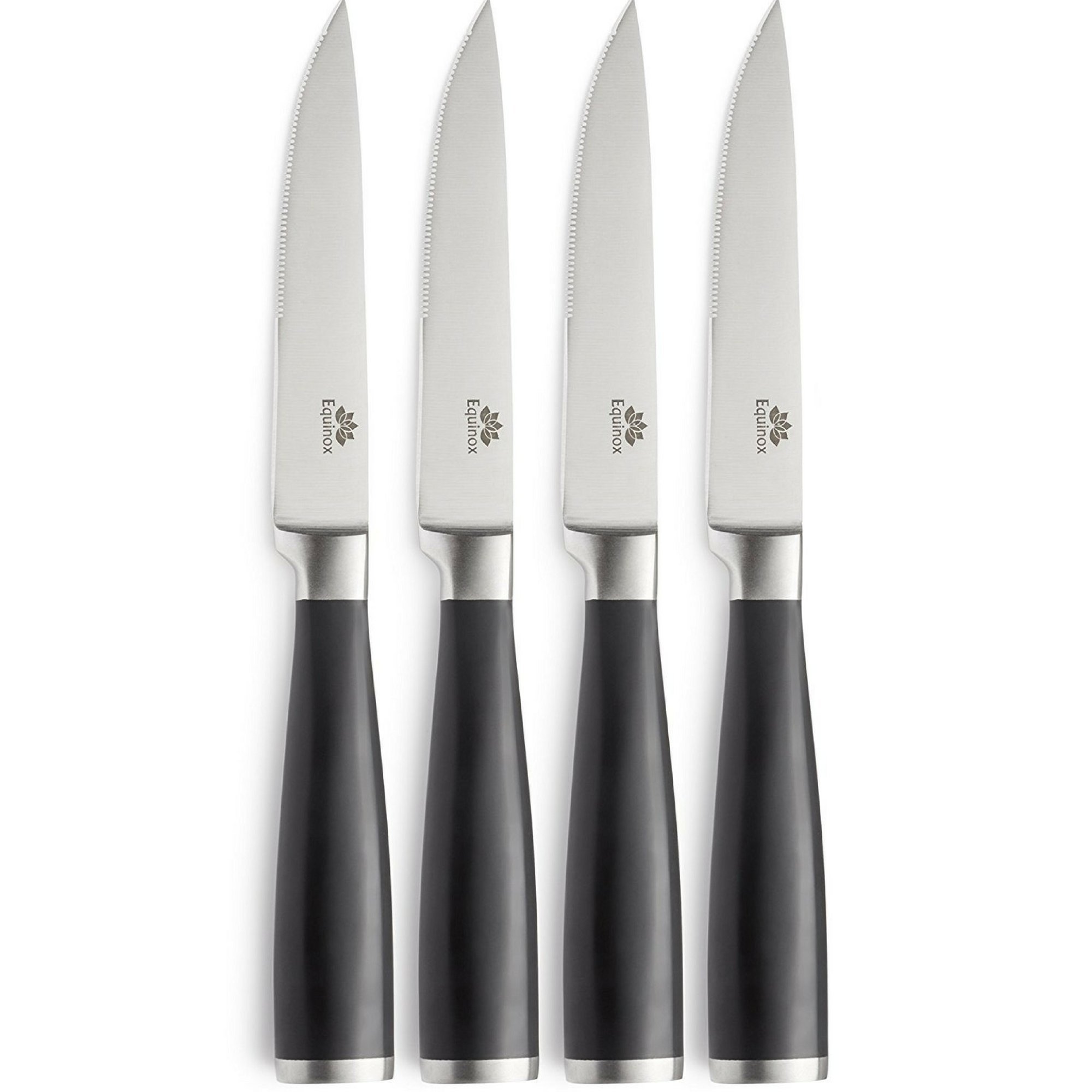 Equinox 4-Piece Stainless Steel Steak Knife Set, Serrated Steak Knives Set of 4 With ABS Handle by Equinox International