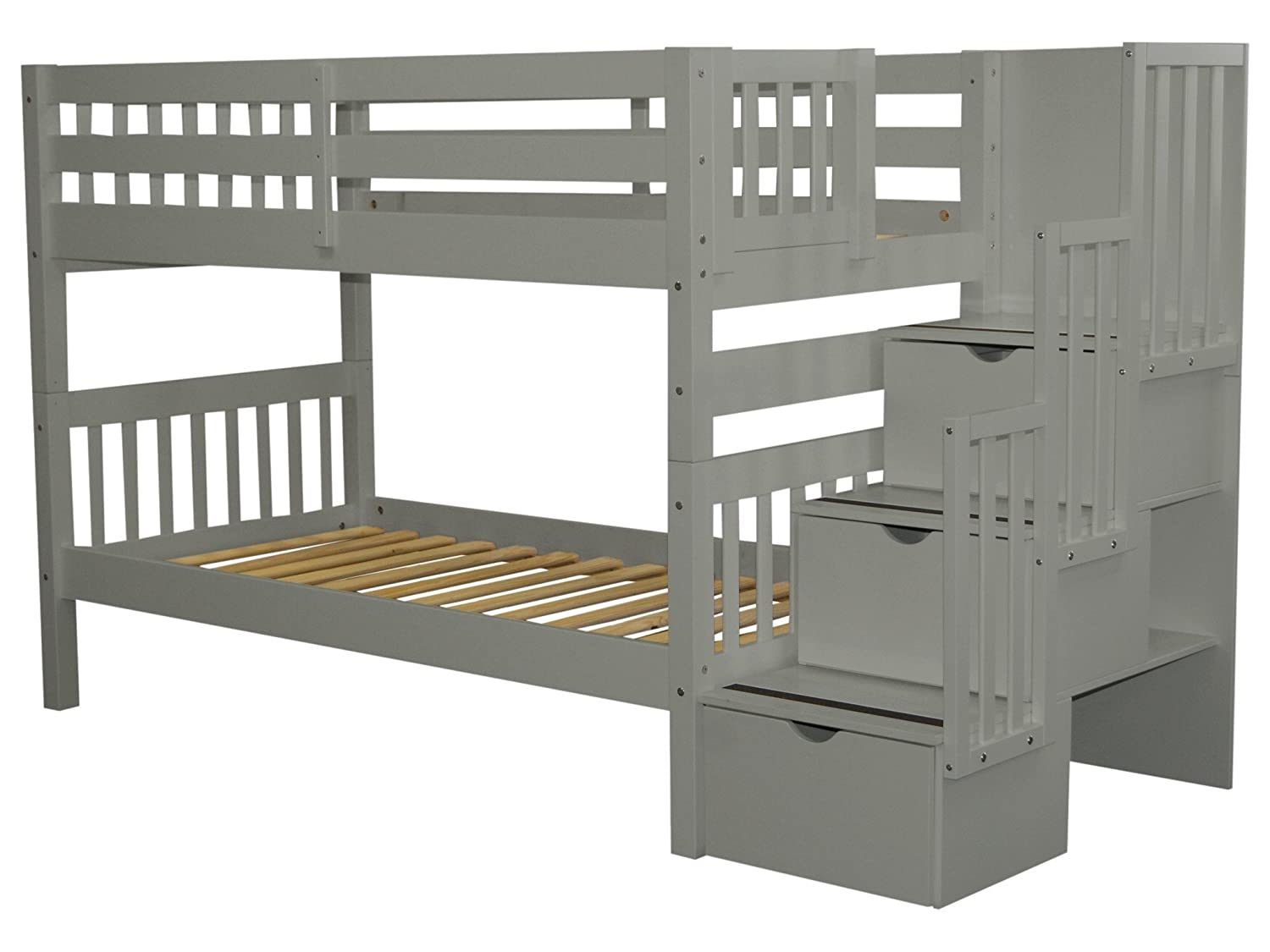 04c8f8f7326245 Amazon.com: Bedz King Stairway Bunk Beds Twin over Twin with 3 Drawers in  the Steps, Gray: Kitchen & Dining