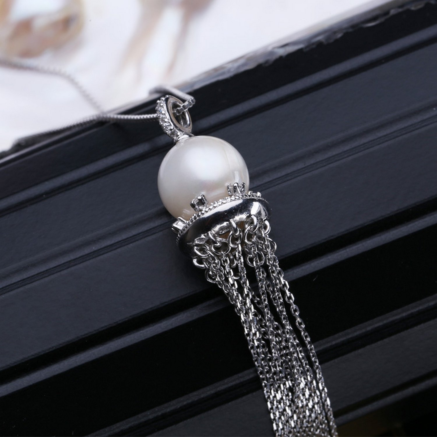MMC Round Pearl Tassel Gift Silver Pendants Necklaces