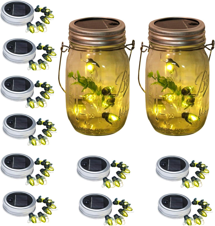 Starry Love Upgraded Solar Mason Jar Lid Firefly Light Outdoor Waterproof Rustproof,10 Packs 6LED Firefly Mason jar Lights, Including 10 Hangers (Excluding Jars), for Terrace Garden Decoration