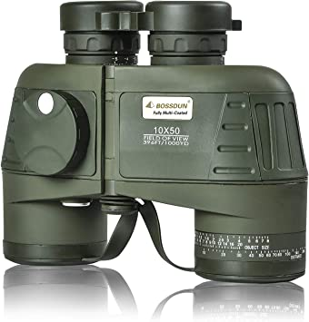 Marine Military Binoculars for Adults,10x50 Waterproof Fog Resistant Binoculars with Rangefinder Compass Telescope for Navigation,Boating,Hunting and Birdwatching