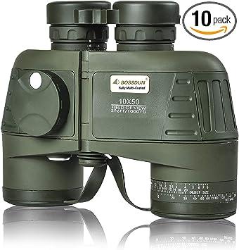 Marine Military Binoculars for Adults 10×50 Powerful Waterproof Binoculars with Rangefinder Compass BAK4 Prism FMC Lens,Binoculars for Boating,Hunting-Army Green (lp001-g)