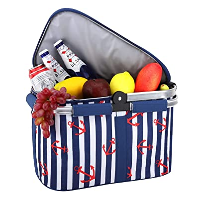 Nuovoware Insulated Picnic Basket, Foldable Collapsible Handle, Waterproof Lining Storage Always Keep Food Fresh for Outdoor Activity, Camping, Traveling, Hiking, Easy Carrying, Blue Stripe : Garden & Outdoor