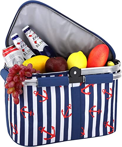 Nuovoware Insulated Picnic Basket, Foldable Collapsible Handle, Waterproof Lining Storage Always Keep Food Fresh for Outdoor Activity, Camping, Traveling, Hiking, Easy Carrying, Blue Stripe