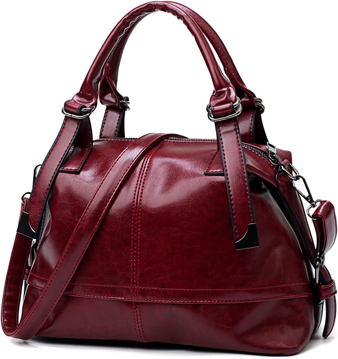 Tisdaini nuevos Bolsos de Las señoras Bolsos Grandes Moda PU Cuero Boston Bolsa Bolso de Hombro Casual para Las Mujeres Vino Tinto