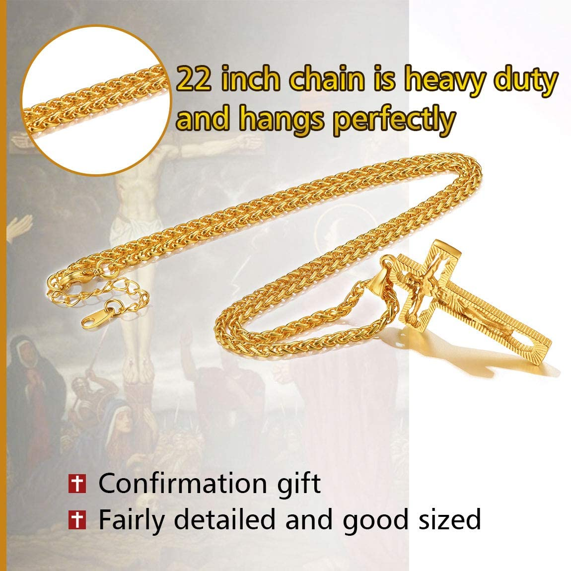 Crucifix Cross Necklace for Men 316L Stainless Steel//18K Gold Plated ChainsPro Can Engrave Send Gift Box