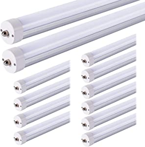 JESLED T8 T10 T12 8FT LED Tube Light Bulbs, 50W 6000LM, 5000K Daylight White, Single Pin Fa8 LED Replacement for Fluorescent Fixture, Frosted, Ballast Bypass, Warehouse Workshop Garage Lights (12Pack)