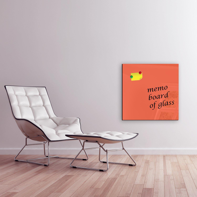 Pizarra magnética de cristal tablón Memo Board magnético pared de 60 cristal Decoración (BxH) 60 de x 60 cm einfarbig Naranja FMK de 13 – 034 magnética pizarras pizarras magnéticas Formas de pizarras de texto mono d3641b