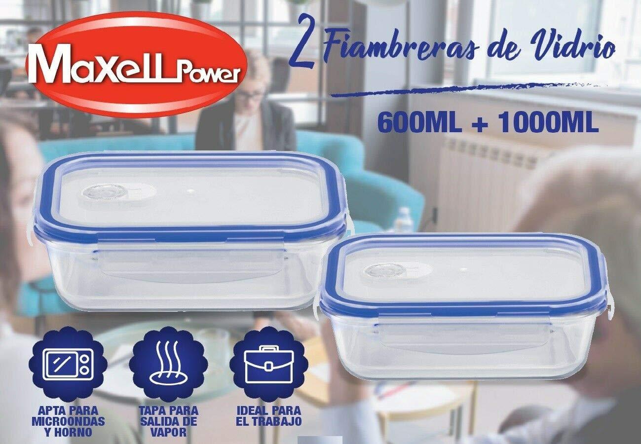 MAXELLPOWER Fiambrera DE Vidrio con Tapa Salida DE Vapor Apto para ...