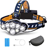 Rechargeable Headlamp, OUTERDO 8 LED Headlamp Flashlight 13000 Lumens 8 Modes with USB Cable 2 Batteries, Waterproof LED Head Torch Head Light with Red Light for Camping Fishing, Car Repair, Outdoor